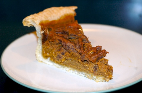Sweet potato pecan pie slice