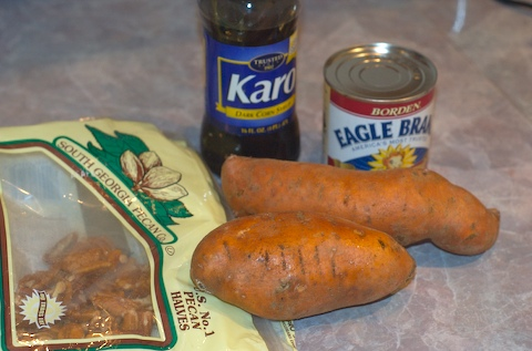 Sweet potato pecan pie — some ingredients
