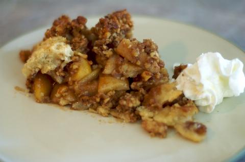 Slice of warm apple pie