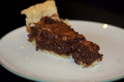 Slice of mac fudge pie