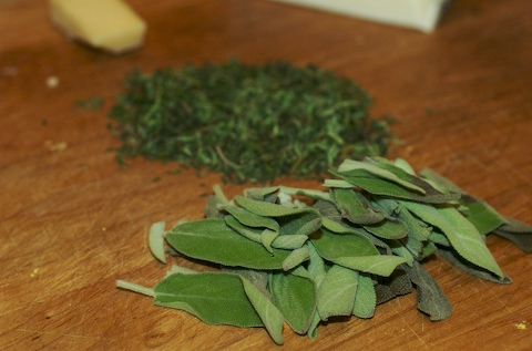 Herbs for gnocchi butter sauce