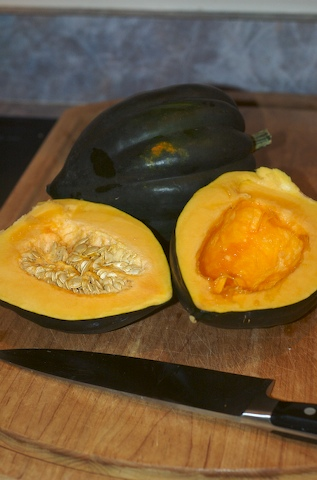 Open and clean the acorn squash
