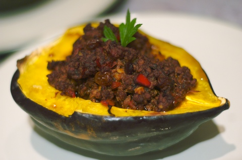 Acorn squash stuffed with beef