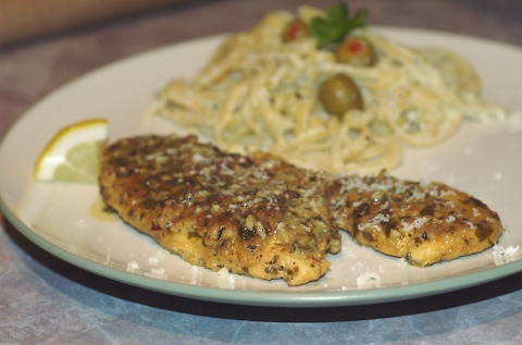 Chicken francaise with creamy garlic pasta