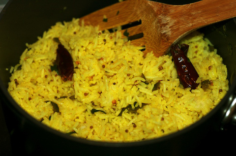 Stirring lime rice