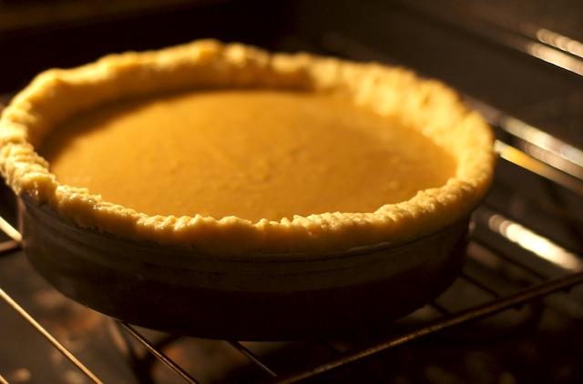Baking the pumpkin pie