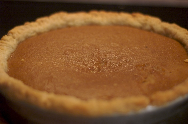 Pumpkin pie fresh out of the oven
