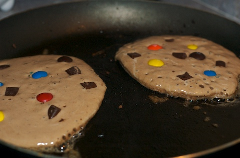 Chocolate batter pancakes with M&M's