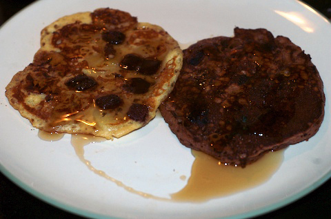 A chocolate chunk pancake and a double chocolate pancake. Healthy breakfast!