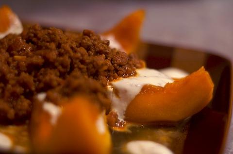 Kaddo Bourani (Afghani Pumpkin w/Yogurt & Beef Sauce)
