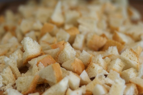 Chop the bread into small chunks