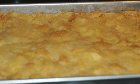 Poached pear bread pudding fresh out of the oven