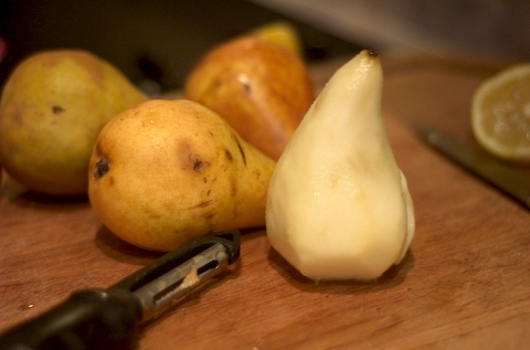 Peel and core the pears