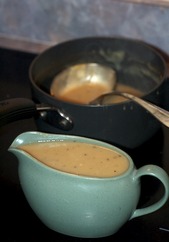 Finished turkey gravy, ready for serving