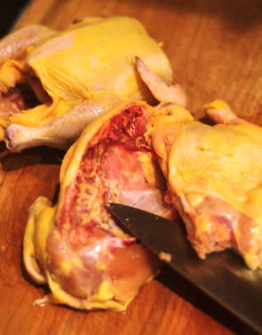 Halve the cornish game hens