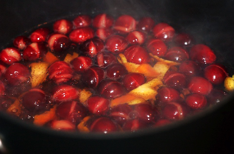 Boil the cranberries, zest, herbs, and cloves in simple syrup