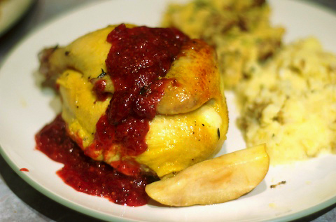Apple Roasted Cornish Game Hen with Orange Cranberry Mustard Sauce