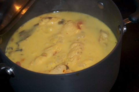Poach the chicken in the cream sauce