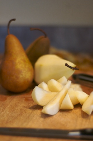 Peel and slice the pears
