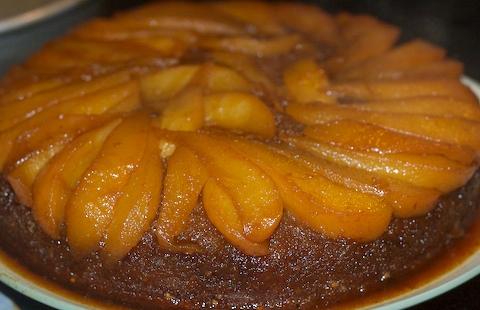 Upside-down Cardamom Praline Pear Cake