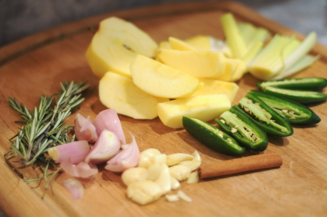 Gather the fresh ingredients and peel, dice, etc
