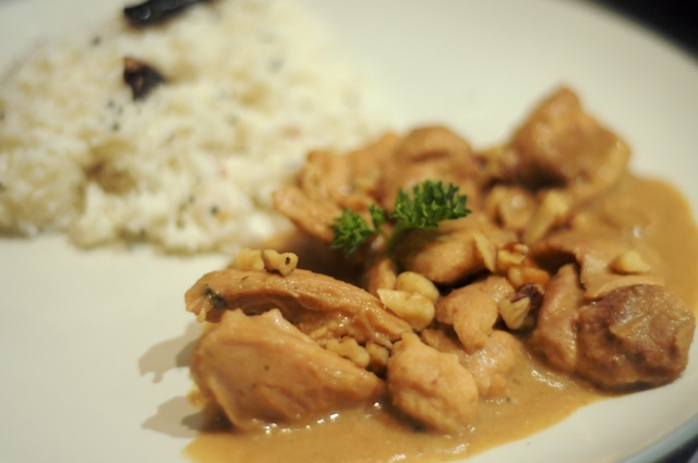 Apple Chicken Curry, served with yogurt rice