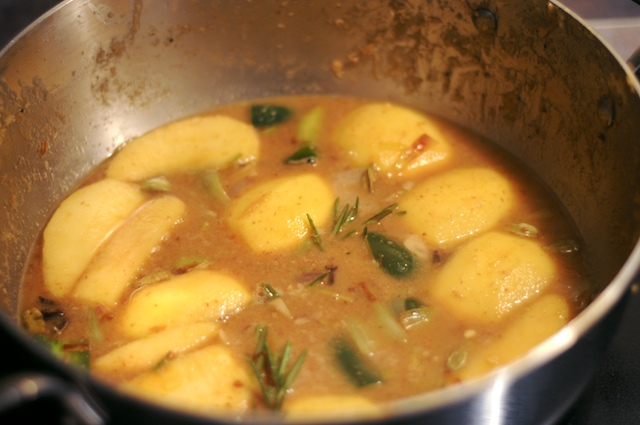 Mix the cooked veggies, toasted spices, apples, and almost all of the rest of the ingredients