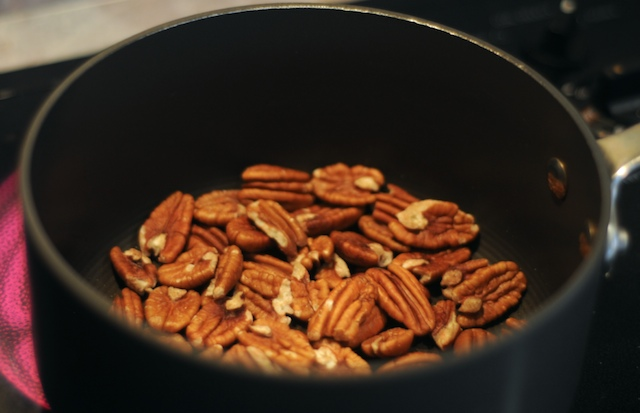 Toast some pecans and then grind them up somewhat finely
