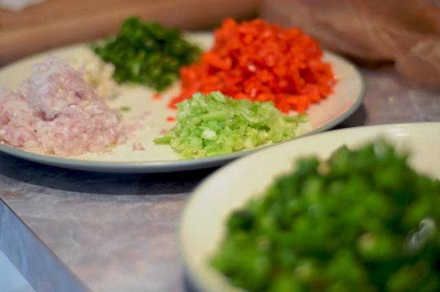 Prep all of the fresh veggies