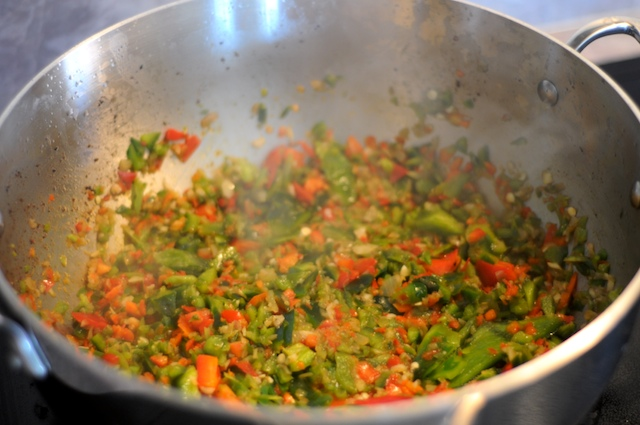 Sauté the shallot, celery, garlic, and peppers
