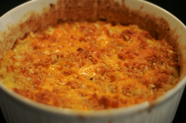 Macaroni & Cheese fresh out of the oven, crisp, bubbly, browned top