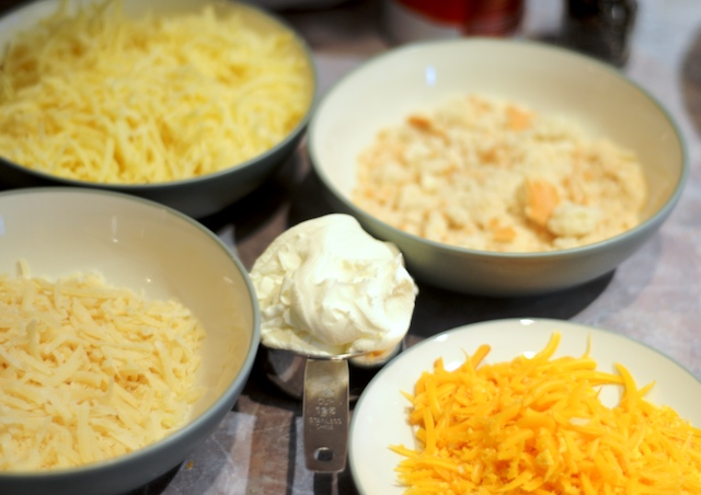 Grated cheese, mascarpone, and fresh bread crumbs