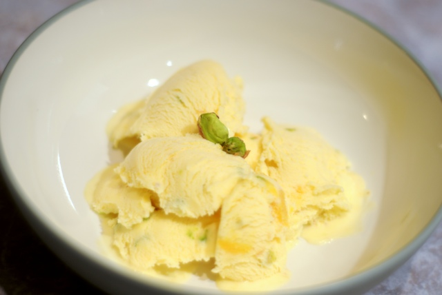 Floral Mango Ice Cream with Pistachio