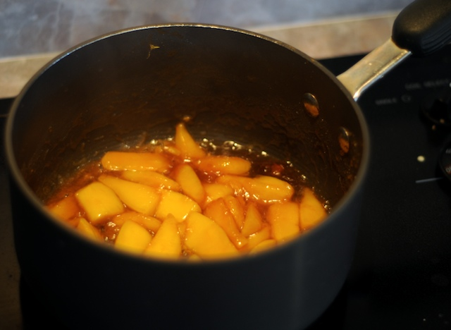 Briefly caramelize the third mango