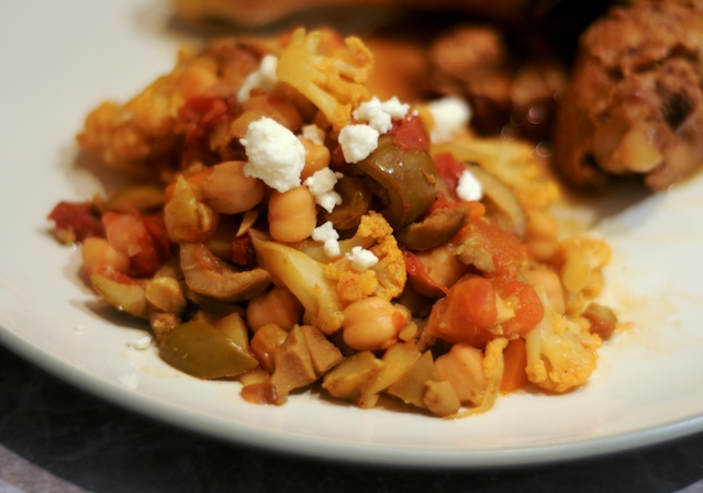 Vegetable Tagine, topped with feta crumbles
