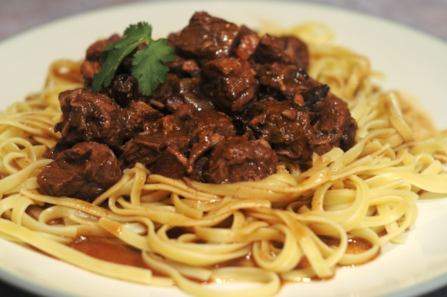 Beef Bourguignon, served over noodles
