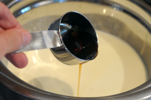 Mix maple into the custard