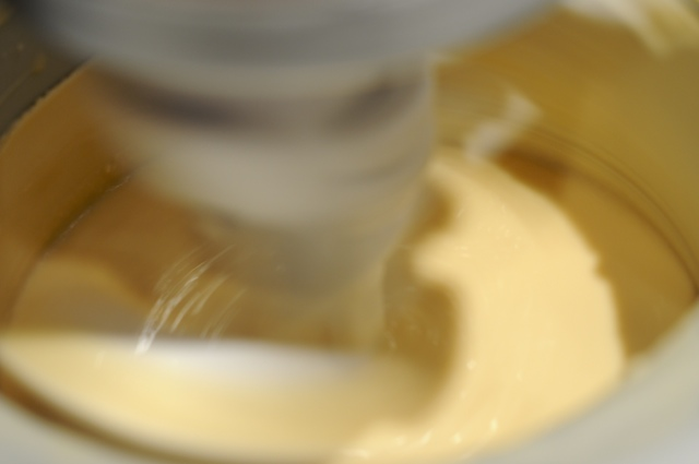 Churn the custard in the ice cream maker