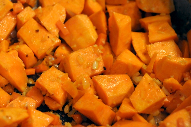 Sauté the veggies for a bit and then the sweet potato