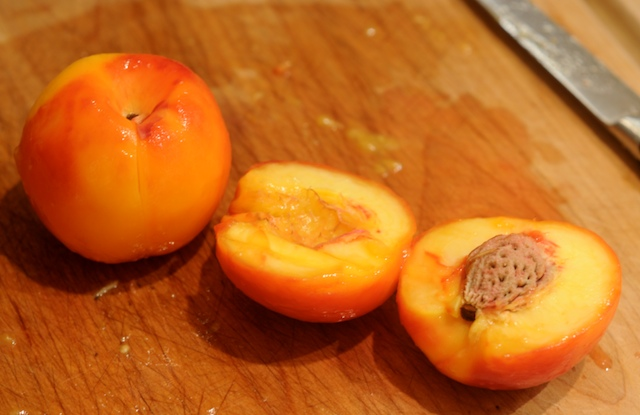 Pit and cut nectarines into wedges