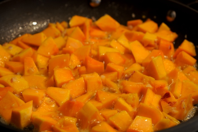 Sauté the shallot and squash in butter