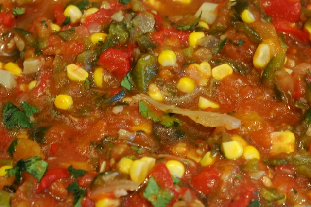 Mix the roasted veggies, cilantro, and season to taste–tada, roasted salsa!