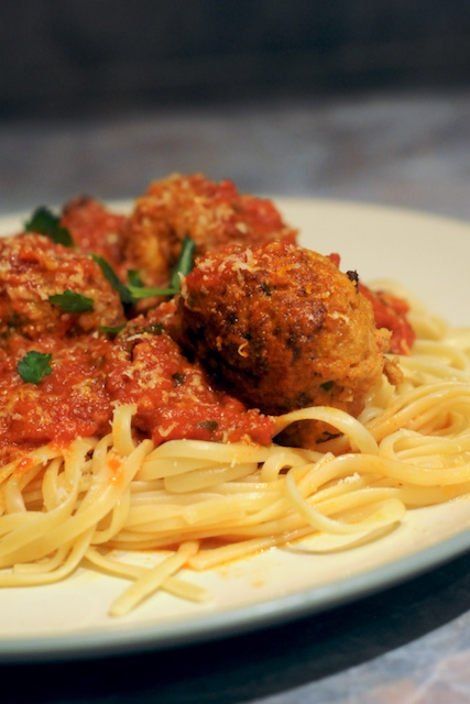 Spaghetti & Fontina-Stuffed Veal Meatballs