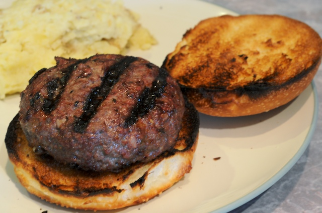 Manchego-stuffed Lamb Burgers fresh off the grill