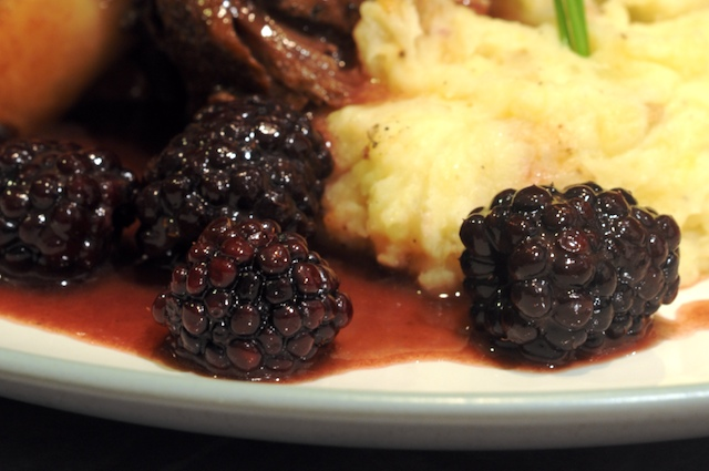 Blackberries poached in Sherry Blackberry Sauce