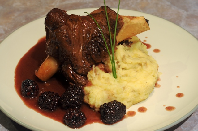 Braised Lamb Shank with Sherry Blackberry Sauce