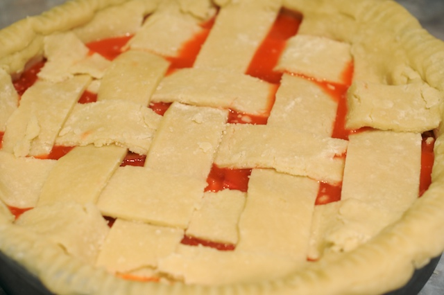 Lace up the second ball of dough into a lattice