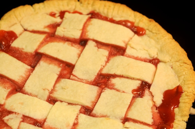 Strawberry Rhubarb Pie fresh out of the oven