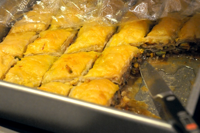 The baklava is done--dig in!