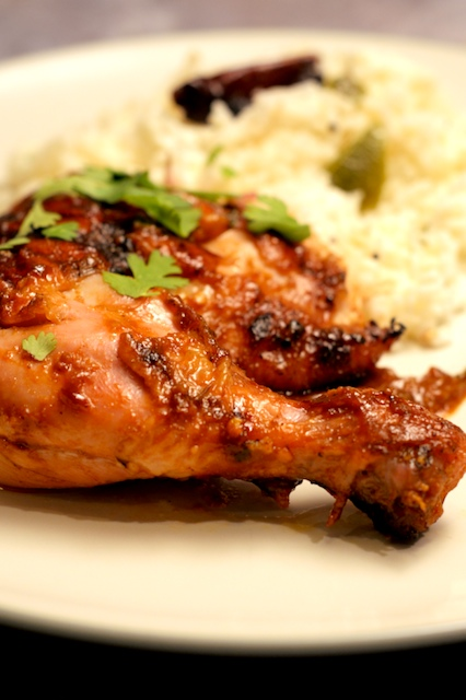 Smoked Indian-inspired barbecue chicken